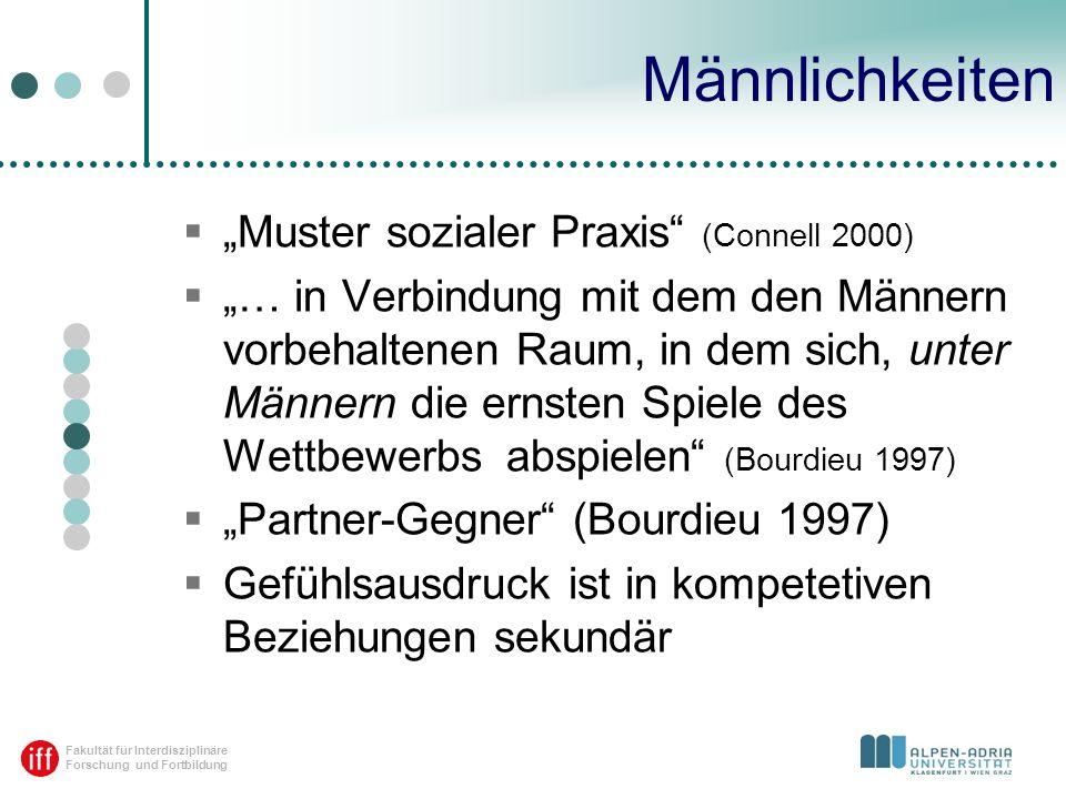 """Männlichkeiten """"Muster sozialer Praxis (Connell 2000)"""