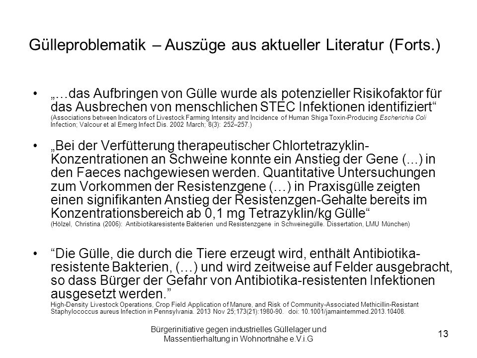 Gülleproblematik – Auszüge aus aktueller Literatur (Forts.)