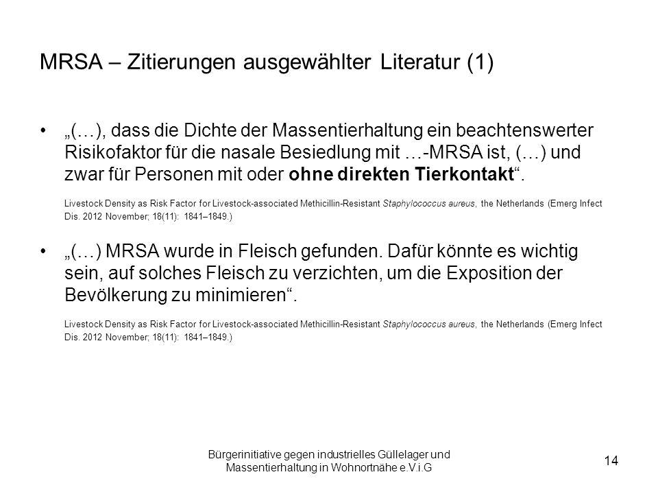 MRSA – Zitierungen ausgewählter Literatur (1)
