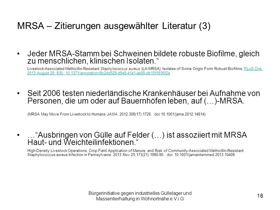 MRSA – Zitierungen ausgewählter Literatur (3)