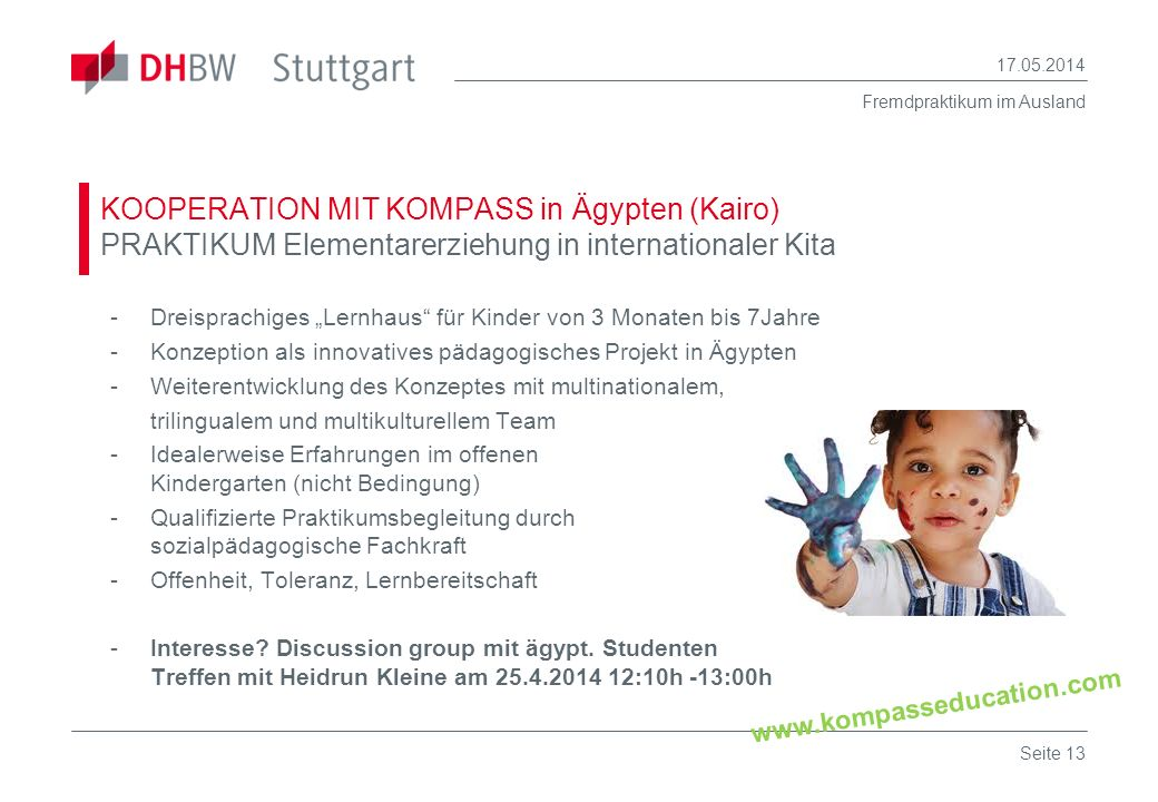 30.03.2017 KOOPERATION MIT KOMPASS in Ägypten (Kairo) PRAKTIKUM Elementarerziehung in internationaler Kita.