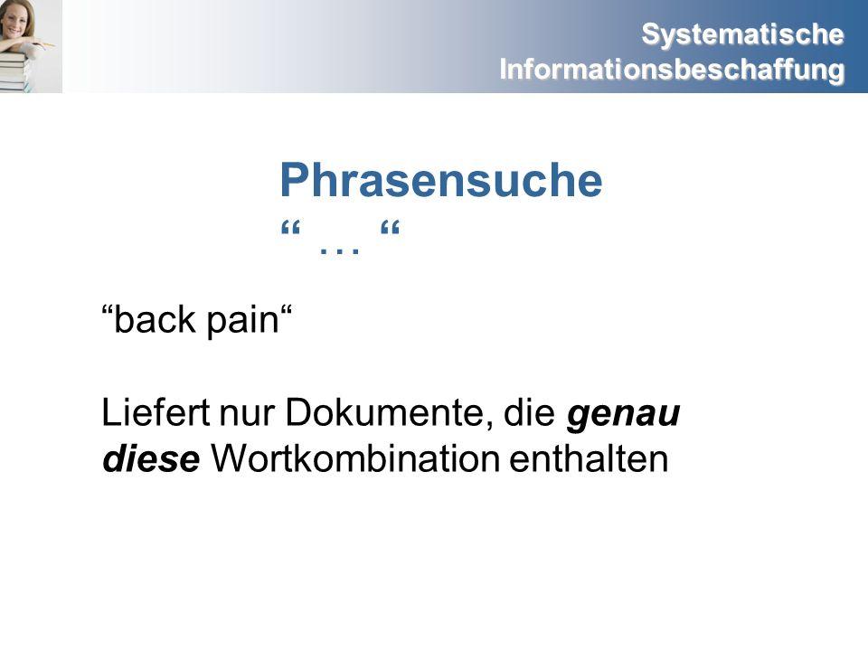 Phrasensuche … back pain