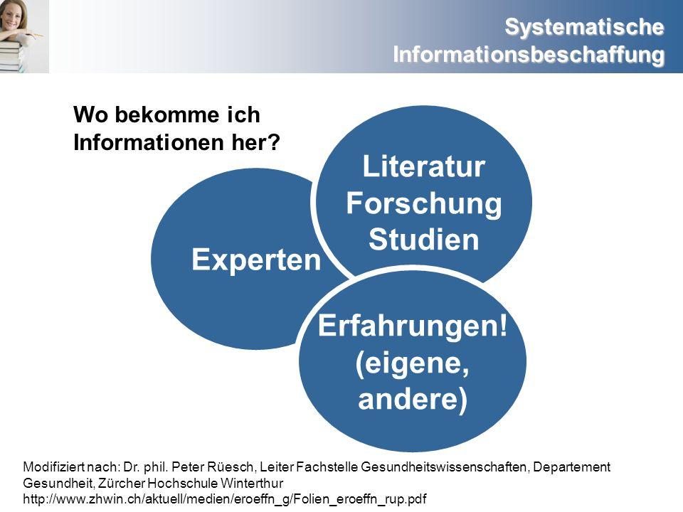 Literatur Forschung Studien Experten Erfahrungen! (eigene, andere)