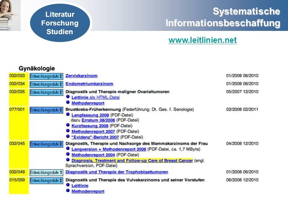 Literatur Forschung Studien www.leitlinien.net