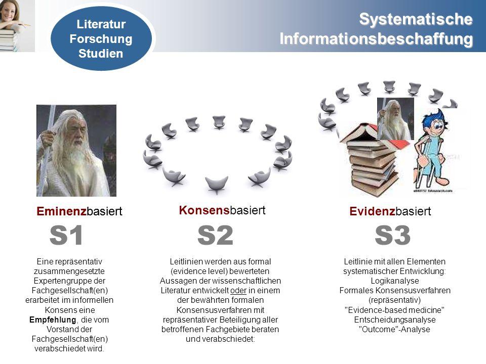 S1 S2 S3 Literatur Forschung Studien Eminenzbasiert Eminenzbasiert