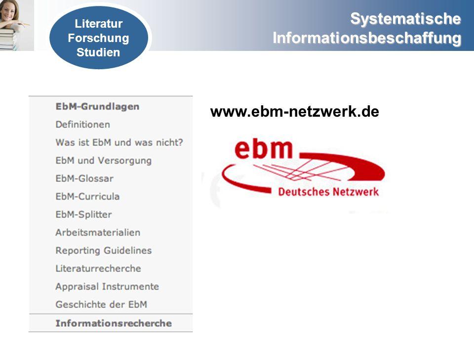 Literatur Forschung Studien www.ebm-netzwerk.de