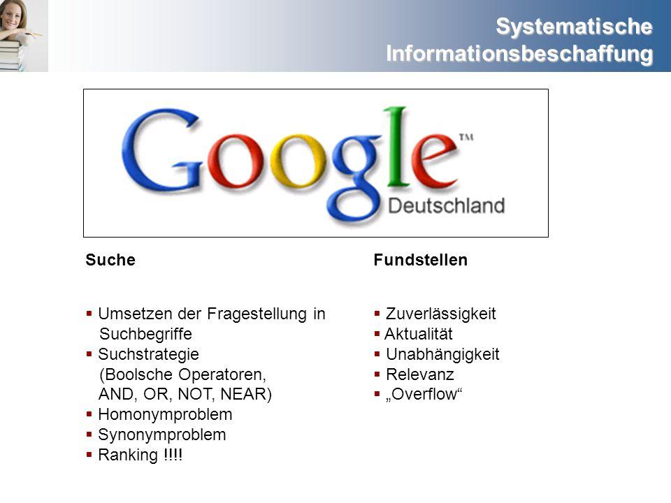 Suche Fundstellen. Umsetzen der Fragestellung in Suchbegriffe. Suchstrategie (Boolsche Operatoren, AND, OR, NOT, NEAR)