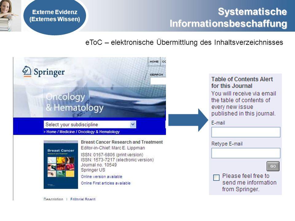 eToC – elektronische Übermittlung des Inhaltsverzeichnisses