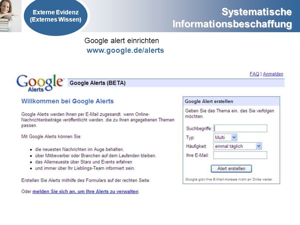 Google alert einrichten www.google.de/alerts