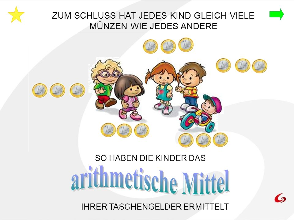 arithmetische Mittel ZUM SCHLUSS HAT JEDES KIND GLEICH VIELE