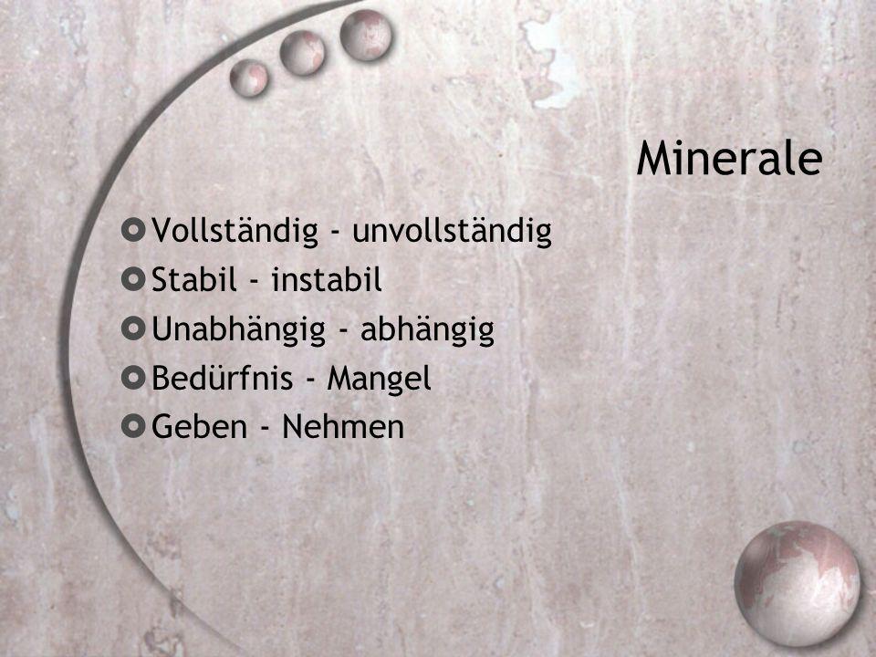 Minerale Vollständig - unvollständig Stabil - instabil