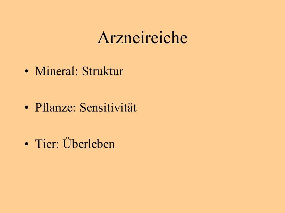 Arzneireiche Mineral: Struktur Pflanze: Sensitivität Tier: Überleben