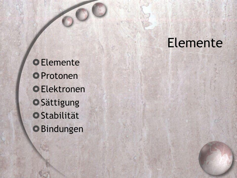 Elemente Elemente Protonen Elektronen Sättigung Stabilität Bindungen