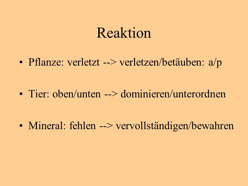 Reaktion Pflanze: verletzt --> verletzen/betäuben: a/p