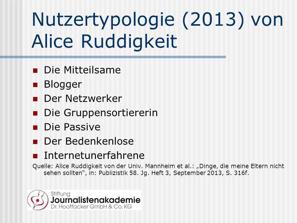 Nutzertypologie (2013) von Alice Ruddigkeit