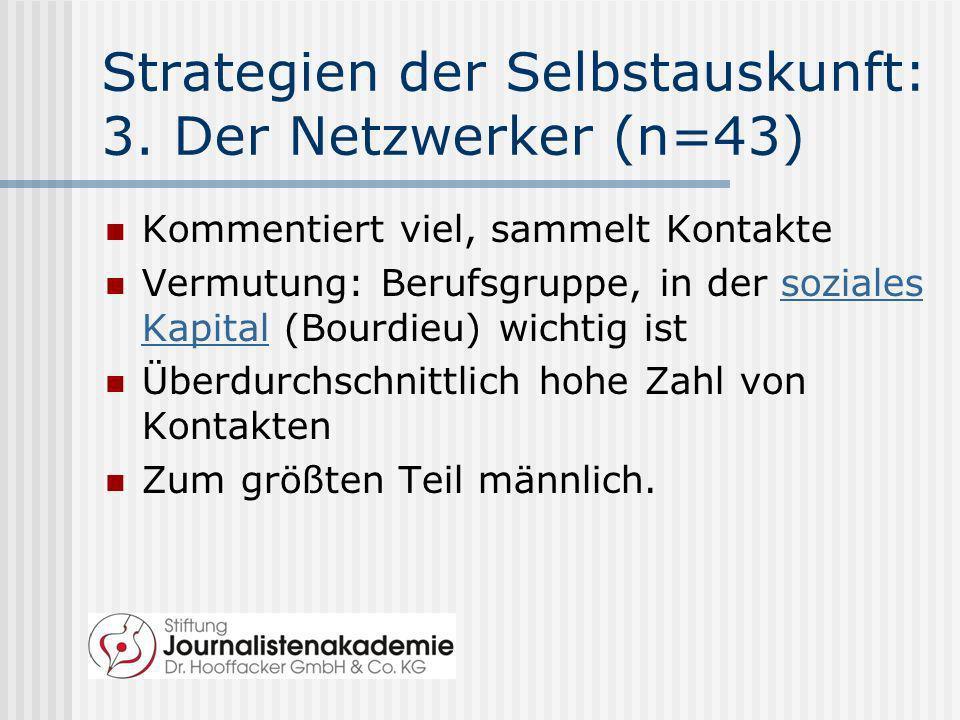 Strategien der Selbstauskunft: 3. Der Netzwerker (n=43)
