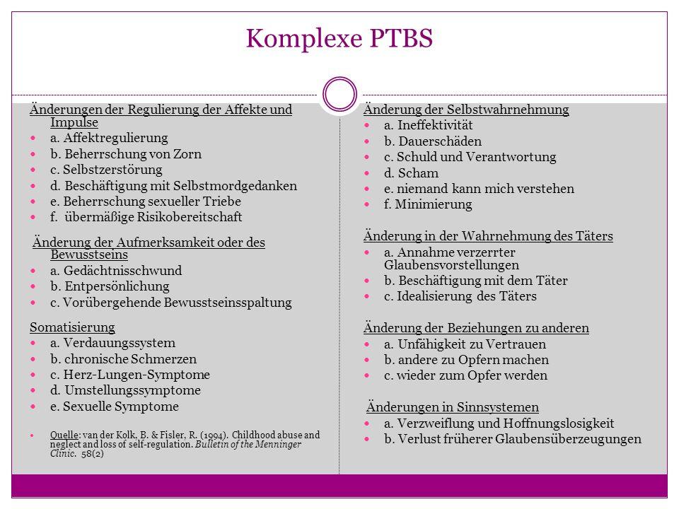 Komplexe PTBS Änderungen der Regulierung der Affekte und Impulse