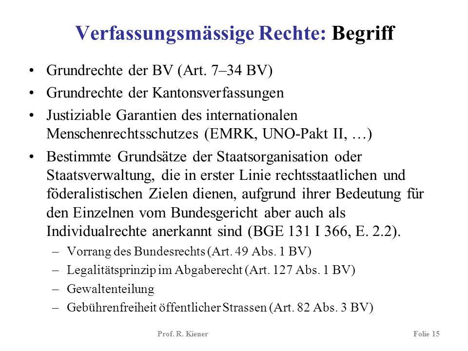 Verfassungsmässige Rechte: Begriff