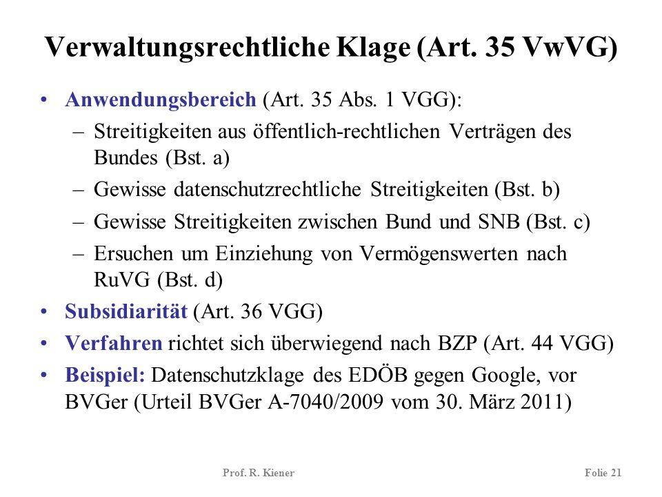 Verwaltungsrechtliche Klage (Art. 35 VwVG)