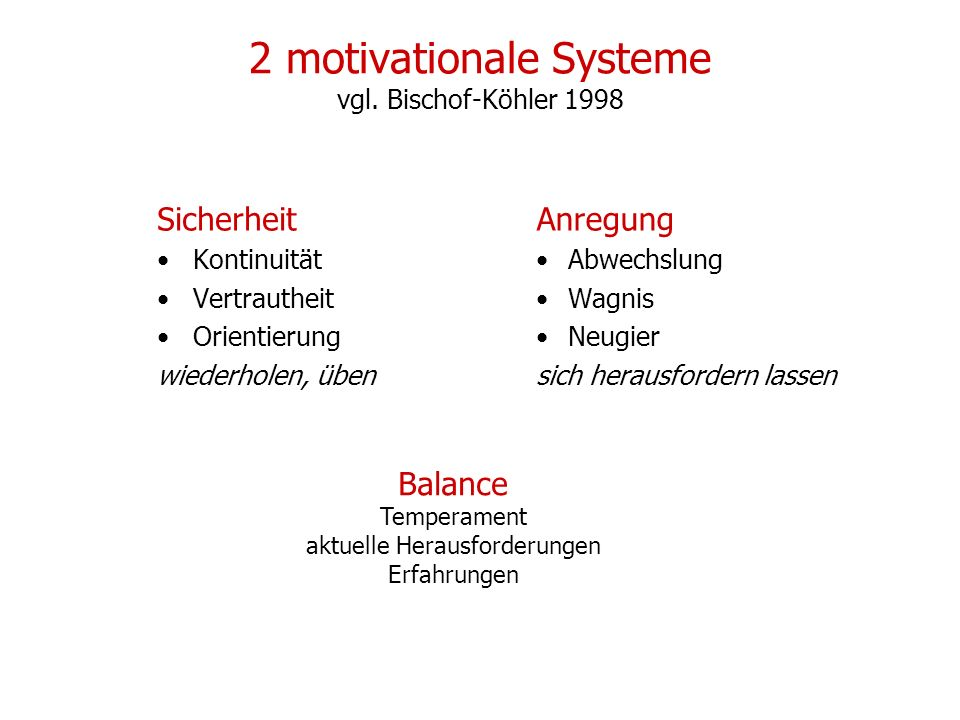 2 motivationale Systeme vgl. Bischof-Köhler 1998