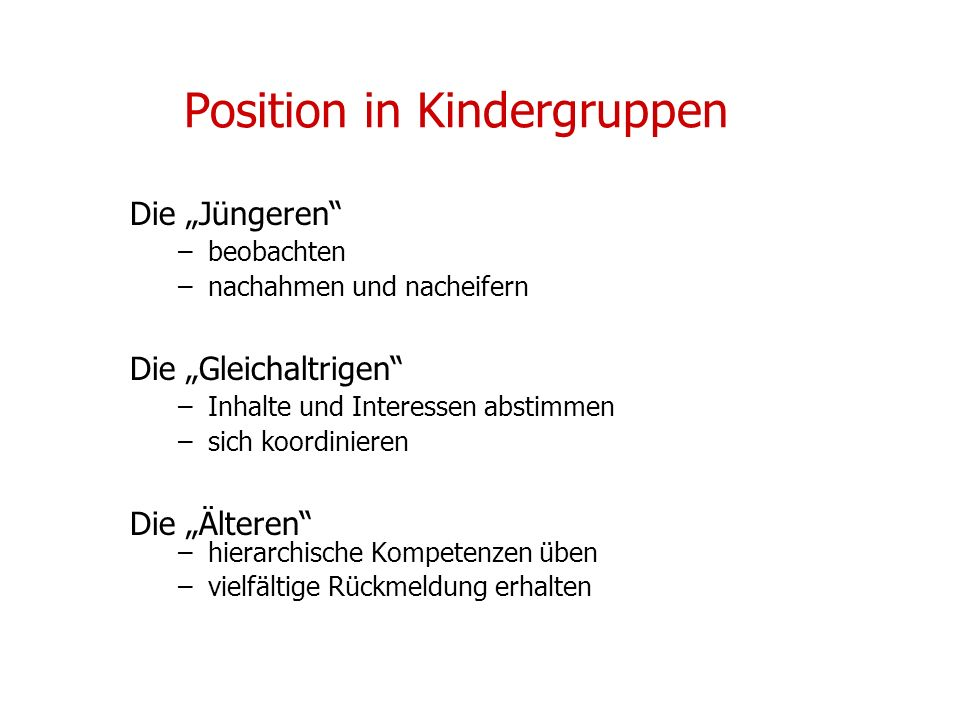 Position in Kindergruppen