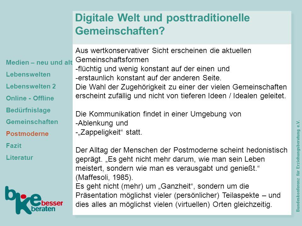 Digitale Welt und posttraditionelle Gemeinschaften