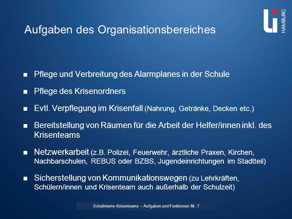 Aufgaben des Organisationsbereiches