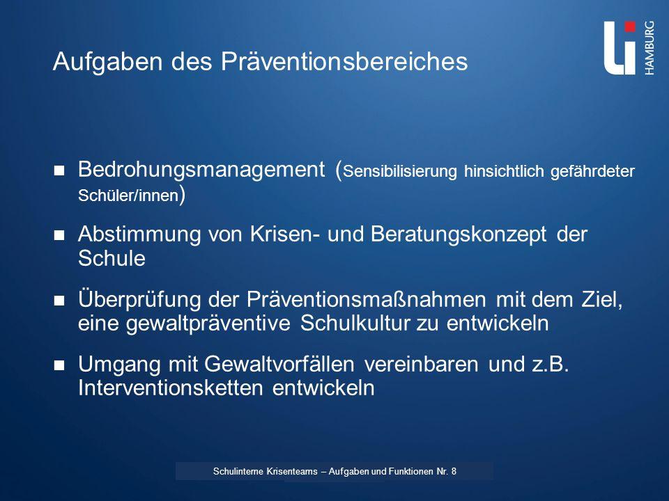 Aufgaben des Präventionsbereiches