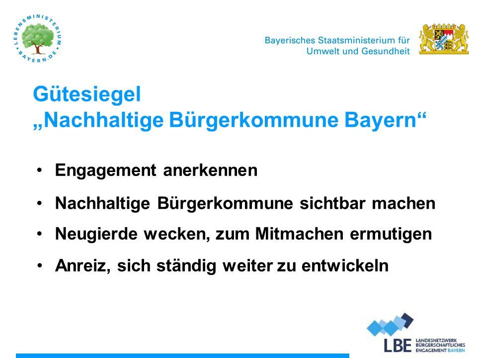 """Gütesiegel """"Nachhaltige Bürgerkommune Bayern"""