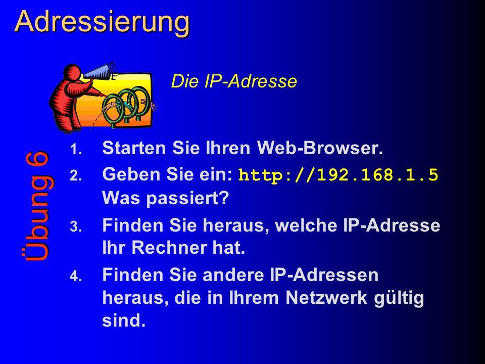 Adressierung Übung 6 Die IP-Adresse Starten Sie Ihren Web-Browser.
