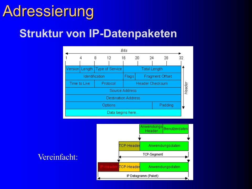 Adressierung Struktur von IP-Datenpaketen Vereinfacht: