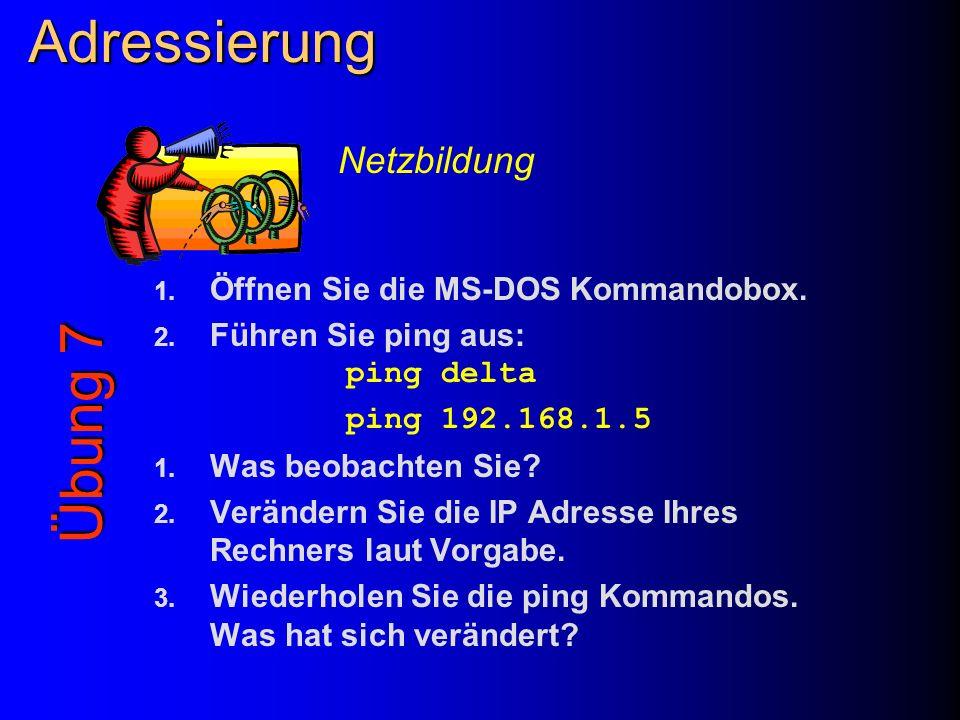 Adressierung Übung 7 Netzbildung Öffnen Sie die MS-DOS Kommandobox.