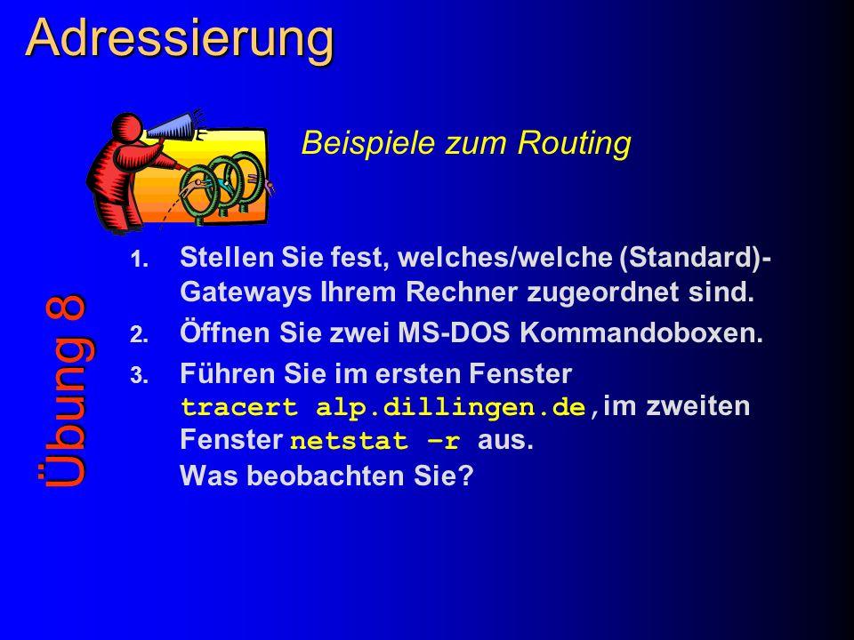 Adressierung Übung 8 Beispiele zum Routing