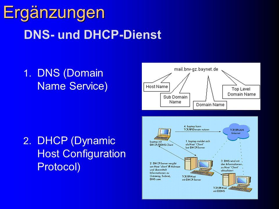 Ergänzungen DNS- und DHCP-Dienst DNS (Domain Name Service)