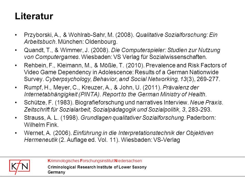Literatur Przyborski, A., & Wohlrab-Sahr, M. (2008). Qualitative Sozialforschung: Ein Arbeitsbuch. München: Oldenbourg.