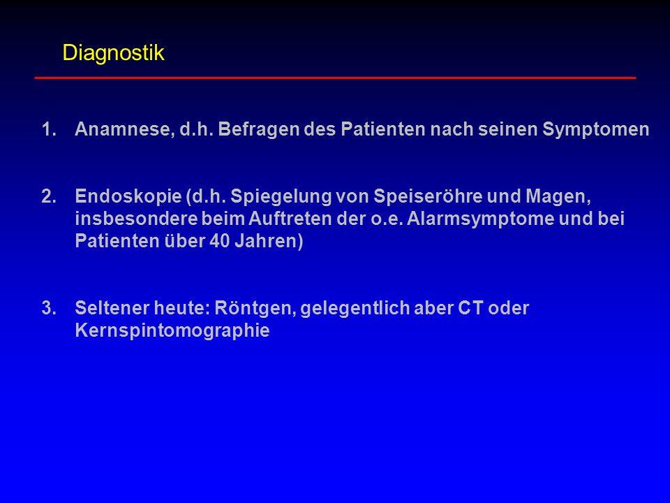 Diagnostik Anamnese, d.h. Befragen des Patienten nach seinen Symptomen