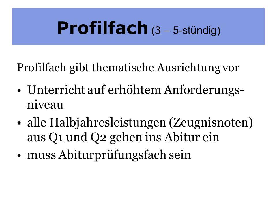 Profilfach (3-5-stündig)