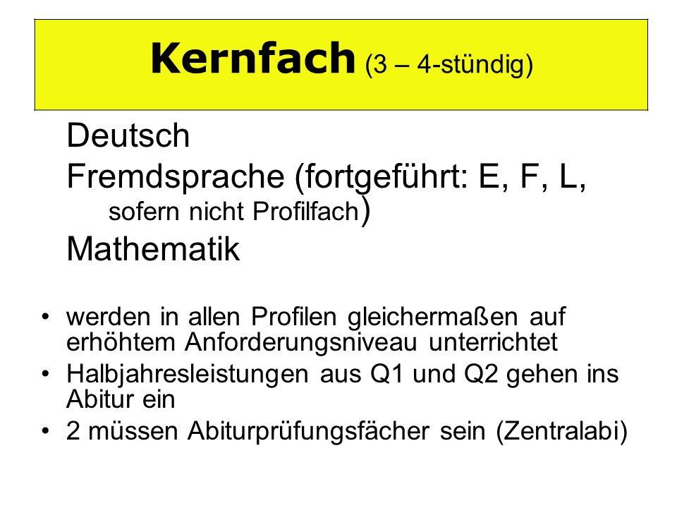 Kernfach (3 – 4-stündig) Kernfach (3-4-stündig) Deutsch