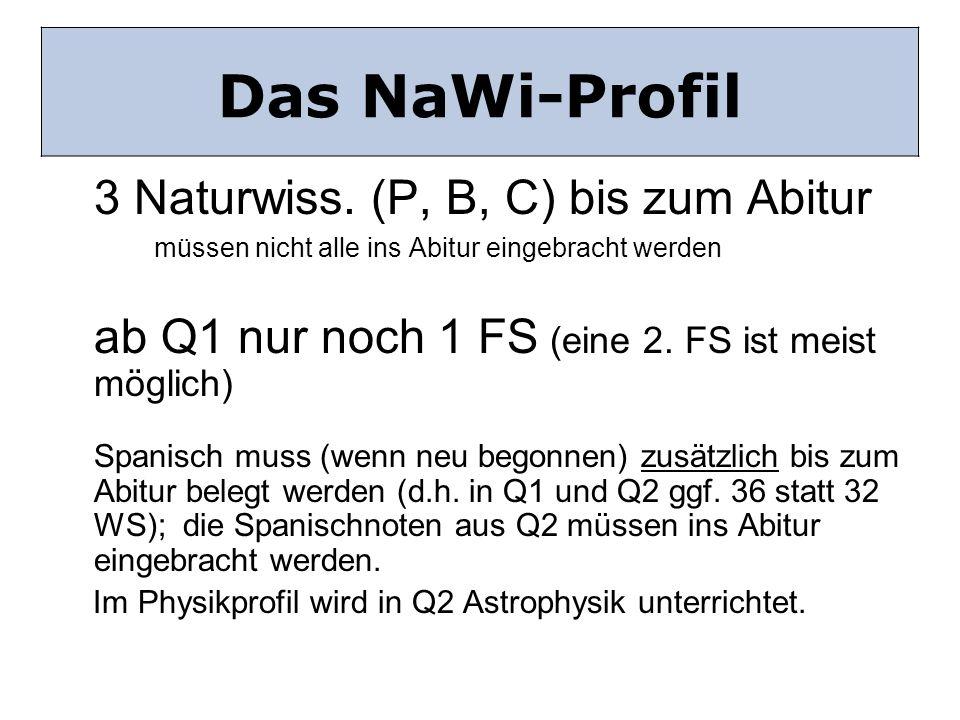 Das NaWi-Profil Das NaWi Profil 3 Naturwiss. (P, B, C) bis zum Abitur