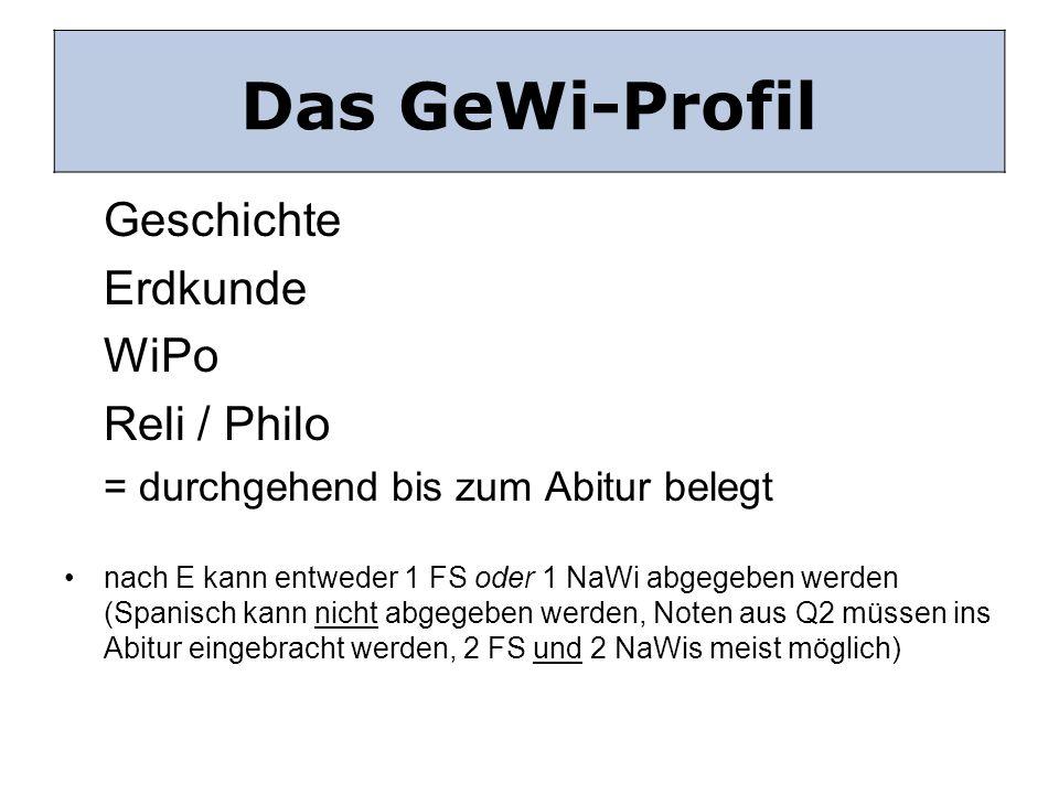 Das GeWi-Profil Das GeWi Profil Erdkunde WiPo Reli / Philo Geschichte