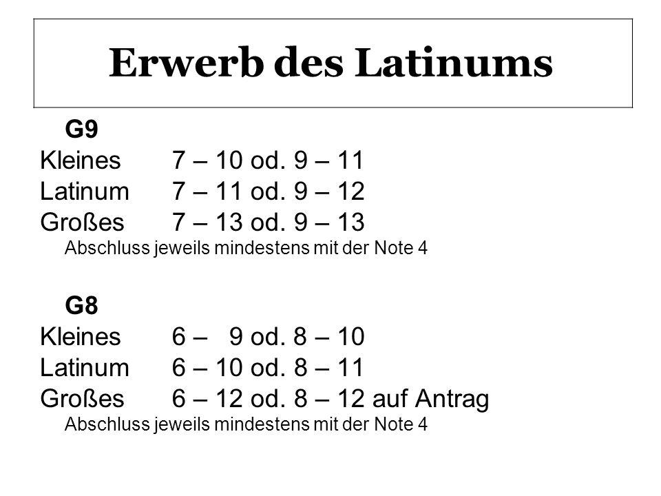 Erwerb des Latinums G9 Kleines 7 – 10 od. 9 – 11