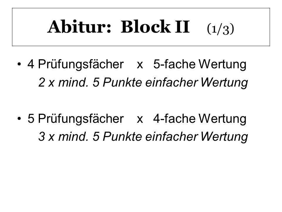 Abitur: Block II (1/3) 4 Prüfungsfächer x 5-fache Wertung