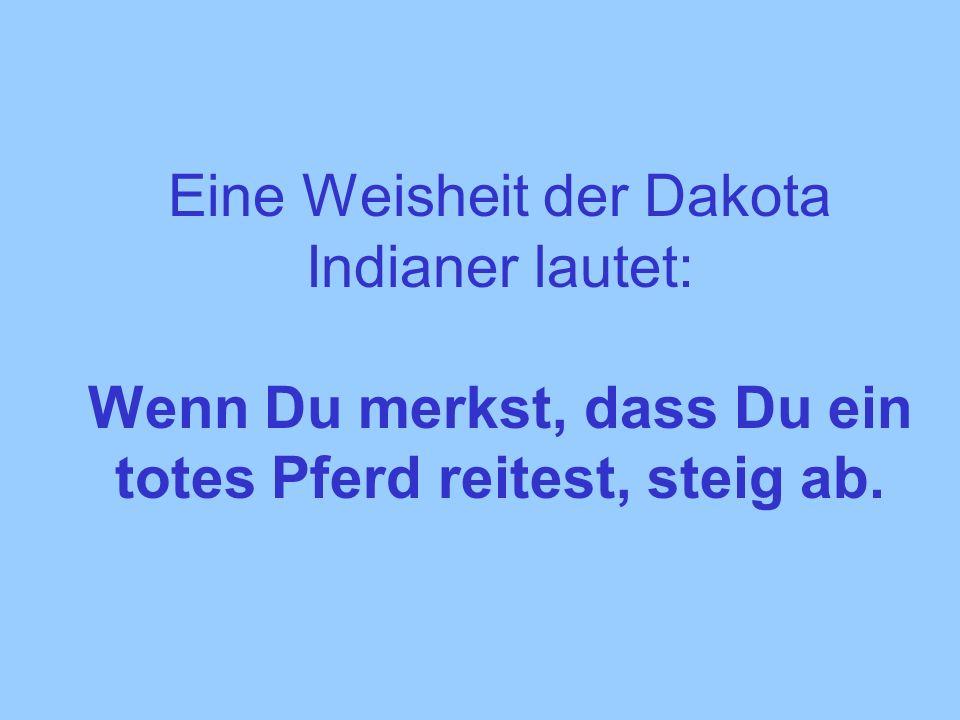Eine Weisheit der Dakota Indianer lautet: Wenn Du merkst, dass Du ein totes Pferd reitest, steig ab.