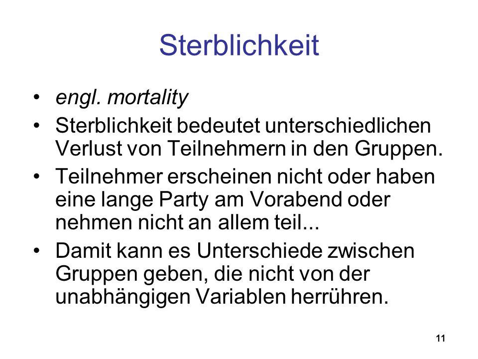 Sterblichkeit engl. mortality