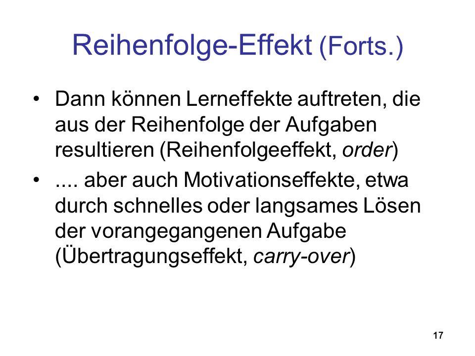Reihenfolge-Effekt (Forts.)
