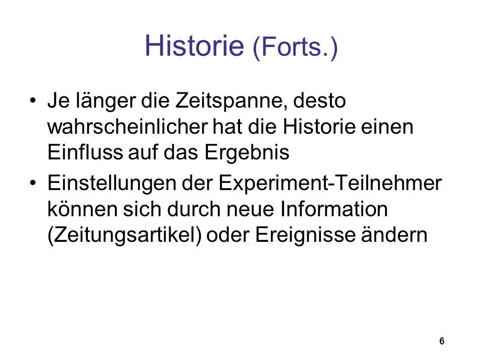 Historie (Forts.) Je länger die Zeitspanne, desto wahrscheinlicher hat die Historie einen Einfluss auf das Ergebnis.