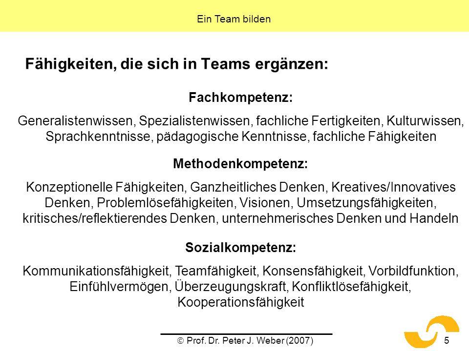 Fähigkeiten, die sich in Teams ergänzen: