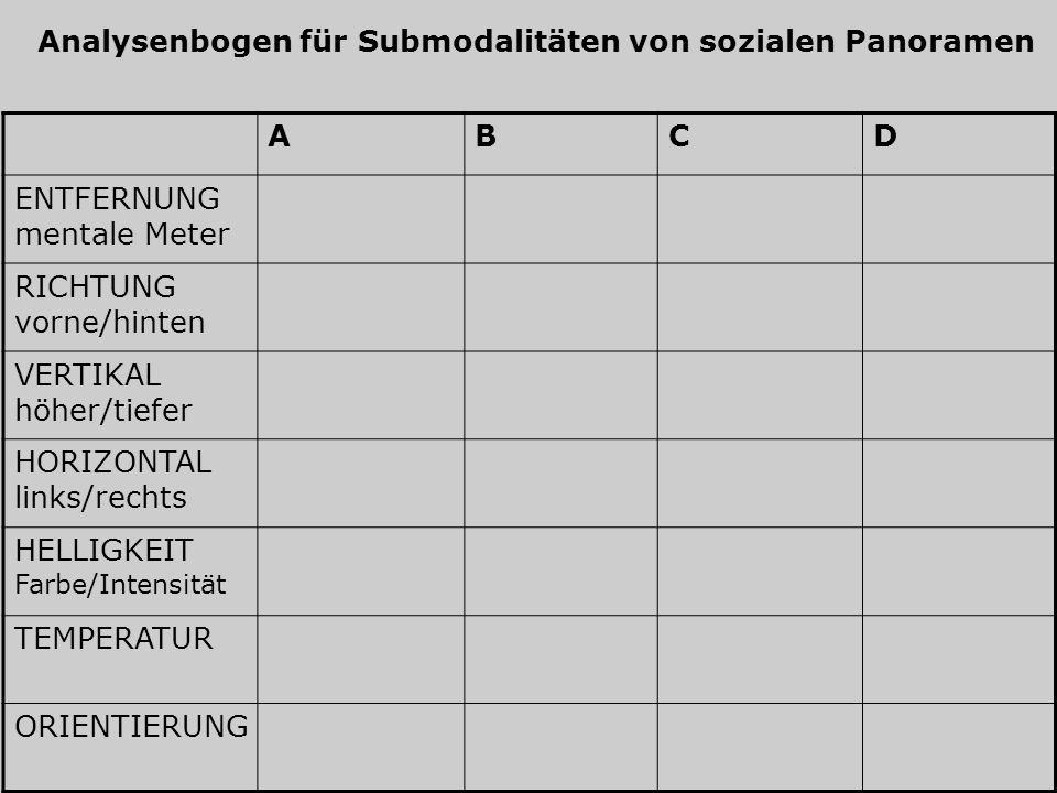 Analysenbogen für Submodalitäten von sozialen Panoramen