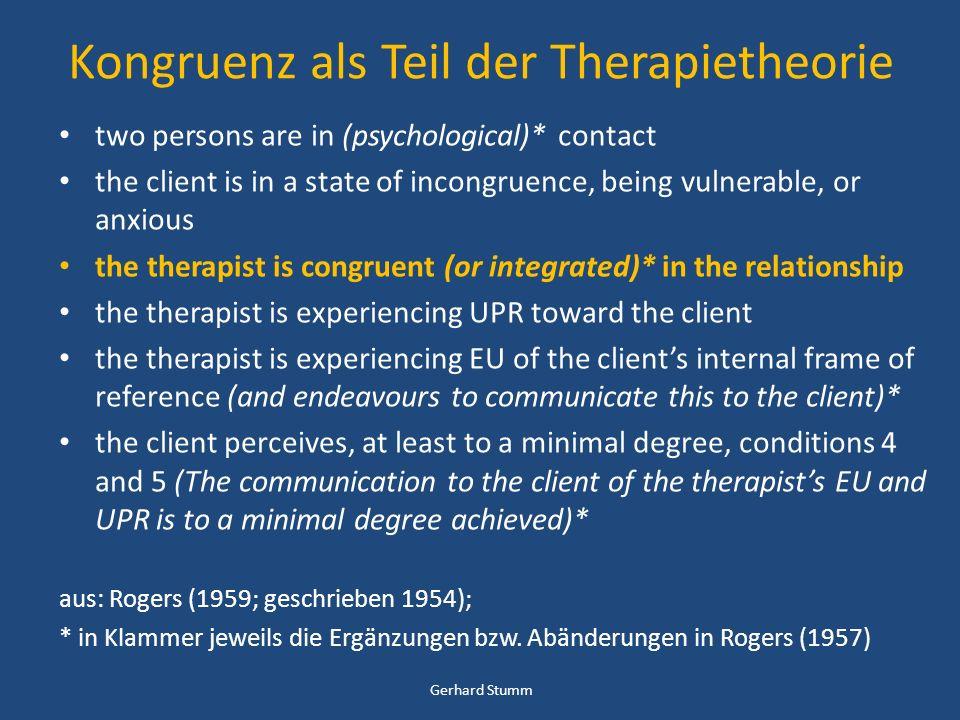Kongruenz als Teil der Therapietheorie