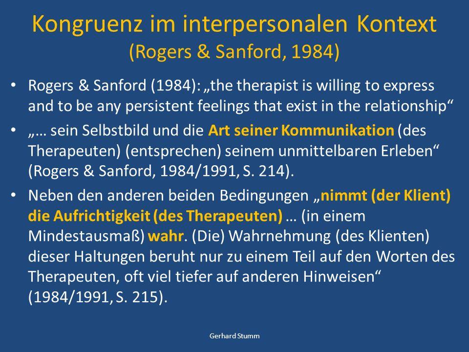 Kongruenz im interpersonalen Kontext (Rogers & Sanford, 1984)